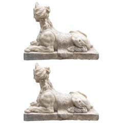 Pair of Plaster Sphinx Modelled from Coade, Lambeth
