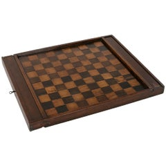 Early 19th Century French Double Sided Marquetry Game Box with Checker Pieces