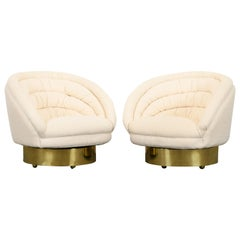 "Pair of Upholstered ""Crescent"" Swivel Club Chairs by Vladimir Kagan, 1970s"