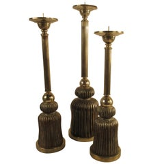3 1980s Silver Plate and Wood Tassel Candlesticks