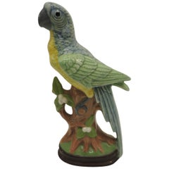 Vintage Hand Painted Colorful Porcelain Parrot Figurine on a Tree Trunk