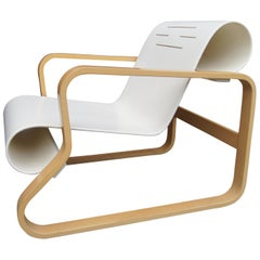 White-Lacquered Paimio 41 Armchair by Alvar Aalto