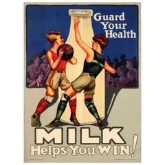 Original Vintage Poster Guard Your Health Milk Helps You Win Ft. Basketball Game