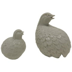 Pair of Vintage White Porcelain Asian Quails