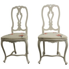 Pair of Vintage White High-Gloss Metal Chairs with Traditional Frames