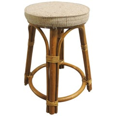 Vintage Bamboo and Rattan Tall Stool with Upholstered Round Seat