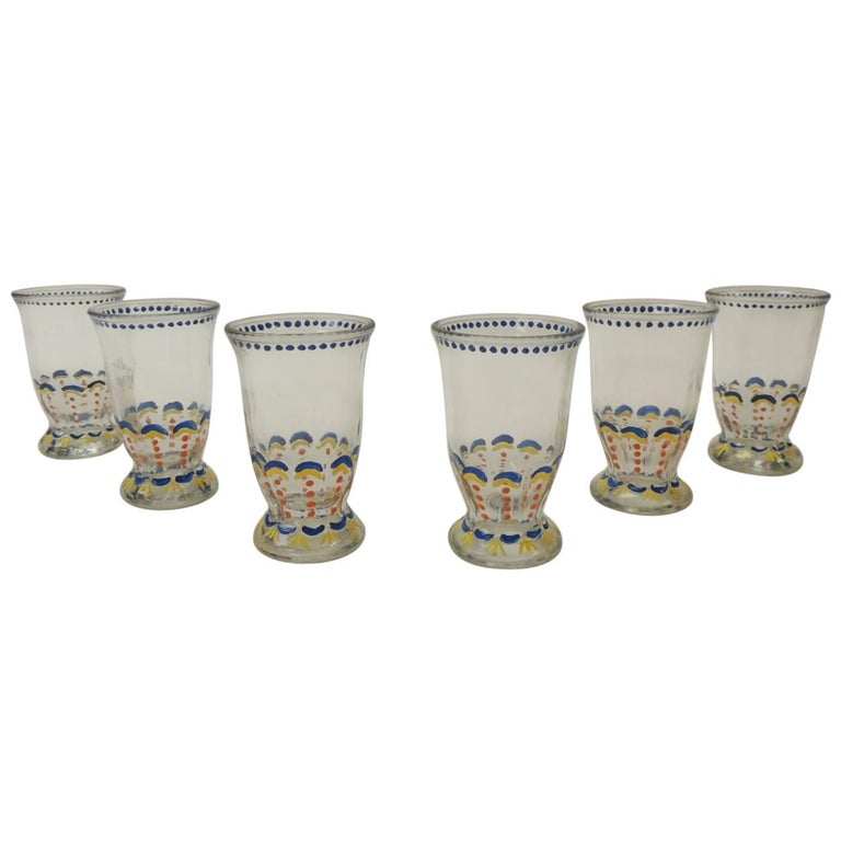 Set of '6' Bohemian Blue and Orange Hand Painted Juice Glasses For Sale