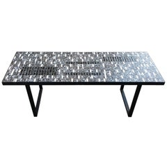 Coffee table in lacquered metal and ceramics, circa 1960
