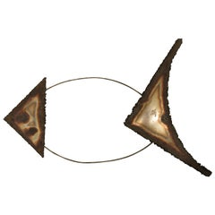 1970s Metal Fish Wall Sculpture