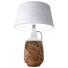 German Brutalist Geometrical Fat Lava Ceramic Vase Table Lamp, 1960s