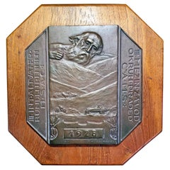 Bronze Panel for Altvater-praděd Road Race, Rare Example of Art Deco Automobilia