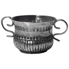 Rare Miniature Silver Queen Anne Caudle Cup, London 1706 James Beschefer