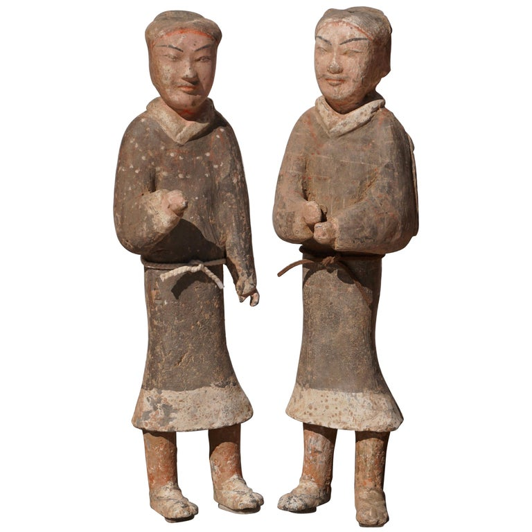 Large Pair of Han Dynasty Guardsmen Warriors '200BC-200AD' Attributed For Sale