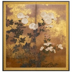 18th Century Japanese Two-Panel Screen, Rimpa Painting of Chrysanthemums