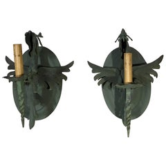Pair of vintage Wrought Iron Wall Sconces