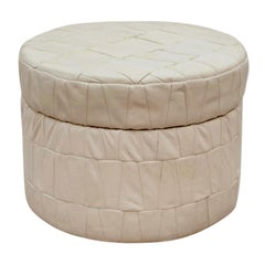 White Patchwork Leather De Sede Ottoman with Storage
