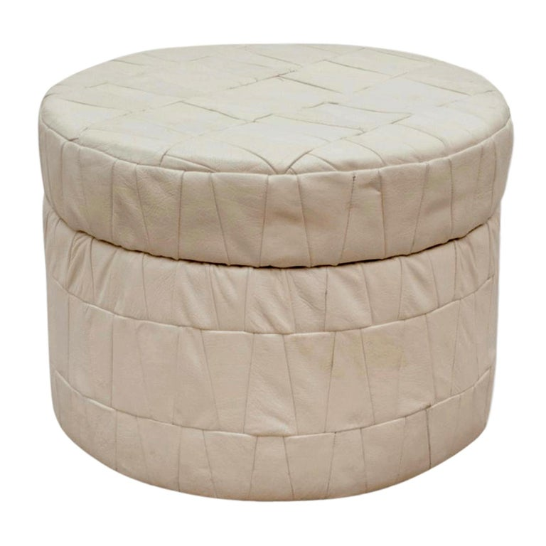 White Patchwork Leather De Sede Ottoman with Storage For Sale