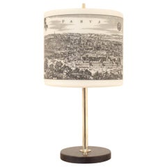 Midcentury Design, Paris and Bordeaux Glass and Brass Table Lamp
