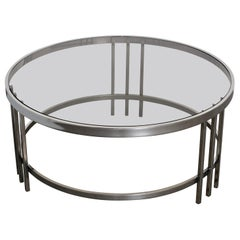 DIA Design Institute of America Polished Steel Chrome Round Cocktail Table