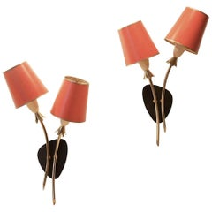 1950s Pair of French Design Neoclassic Tricolor Wall Sconces Lamps