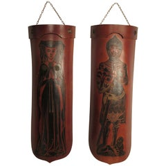 Pair of 1960s Tooled Leather Mid Evil Curved Wall Plaques