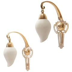 2 Art Deco Peirod Drop Shaped Brass and Glass Night Table Bedside Wall Sconces