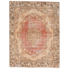 Vintage Distressed Red Persian Wool Rug