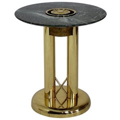 Italian Green Marble and Brass Side Table Cigar Ashtray, 1980s