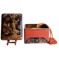Japanese Lacquer Box with Bamboo, Plum, and Family Crest