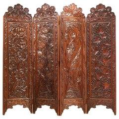Art Nouveau Orientalist Massive Exotic Wood Room Divider Paravan Screen