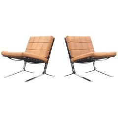 """Pair of French Olivier Mourgue Beige """"Joker"""" Easy Chairs for Airborne, 1960s"""