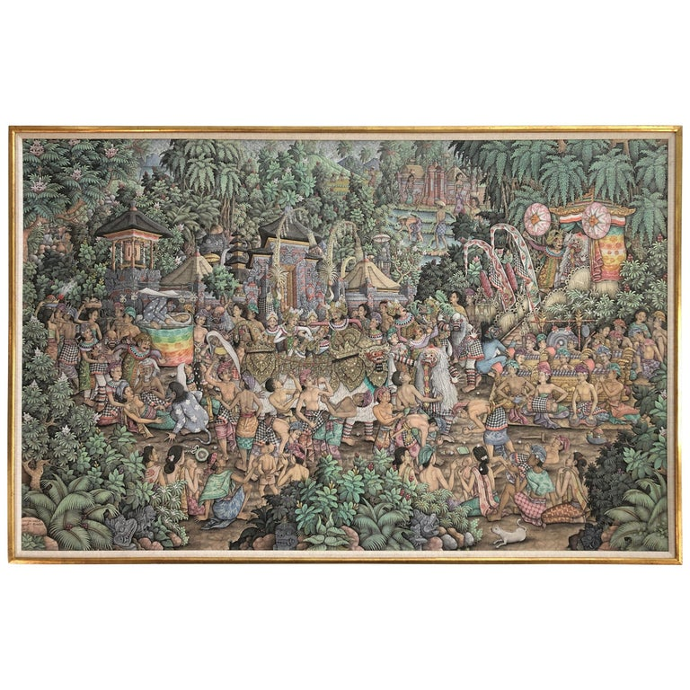 Super Large Spectacular Incredibly Detailed Balinese Original Painting For Sale