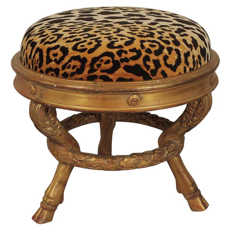 Charles X Style Giltwood Leopard Upholstered Stool, 20th Century For Sale