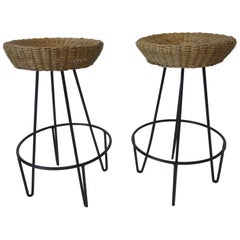 Frederick Weinberg Wicker and Iron Bar Stools