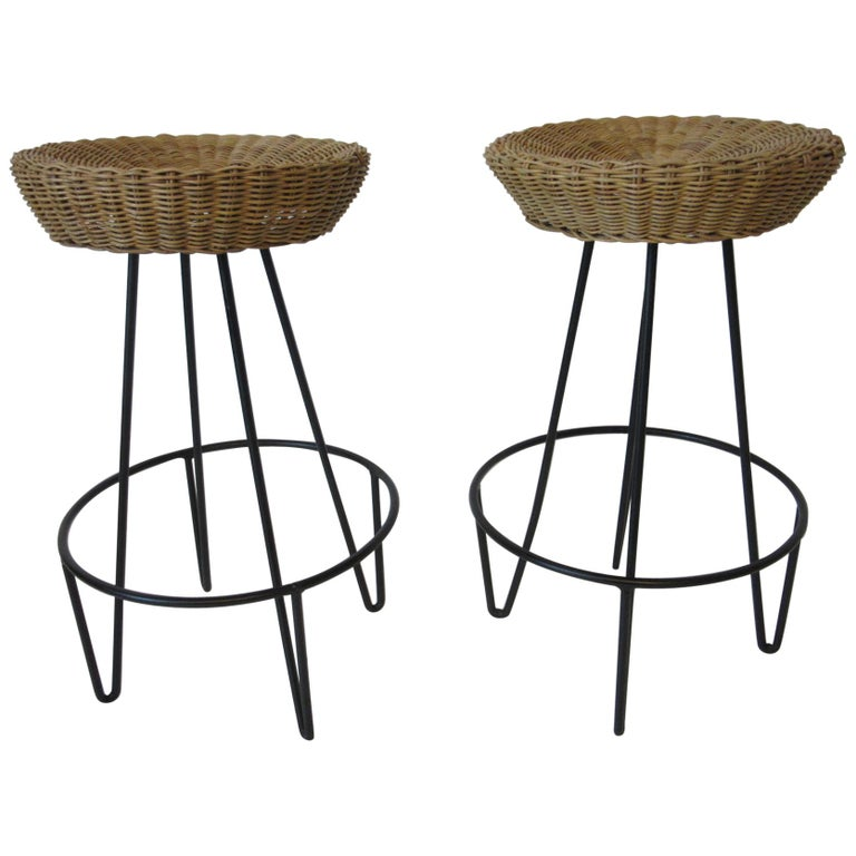 Frederick Weinberg Wicker and Iron Bar Stools For Sale