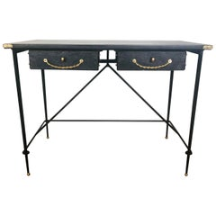 1950s Jacques Adnet Black Desk Decorated with Brass