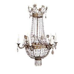 19th Century Neoclassical Gilt-Iron Chandelier