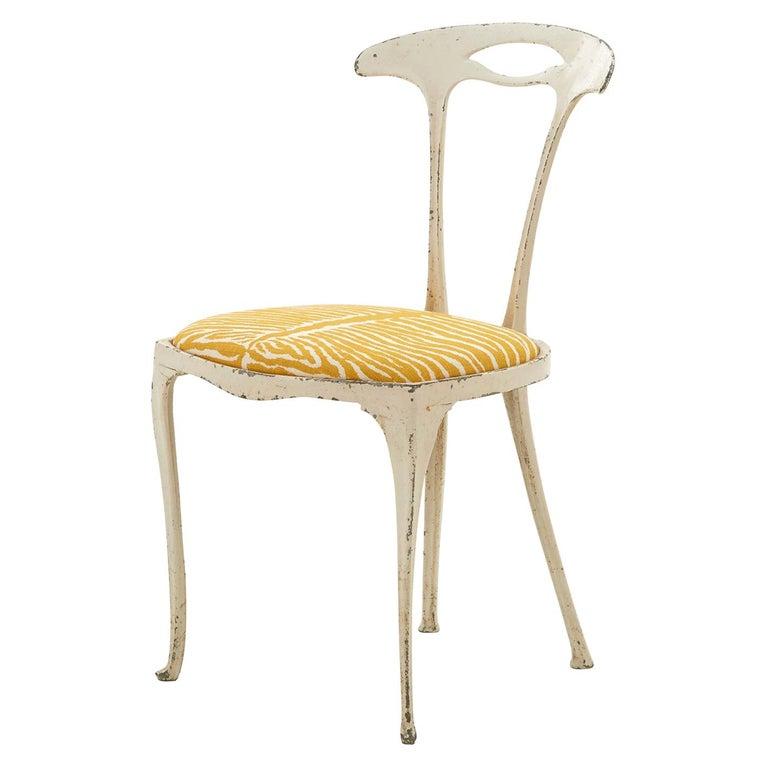 French Metal Frame Chair Upholstered in Brunschwig & Fils Le Zebre Saffron For Sale