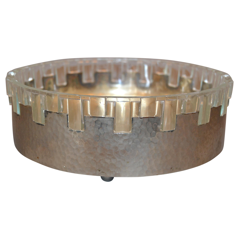 Vintage Lead Crystal and Hammered Metal Decorative Bowl, Serving Bowl, England