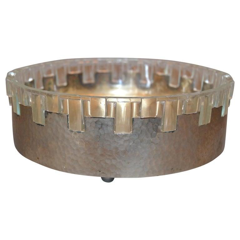 Vintage Lead Crystal and Hammered Metal Decorative Bowl, Serving Bowl, England For Sale