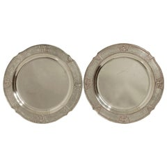 Pair of Round Silver Plate Trays E G Webster New York