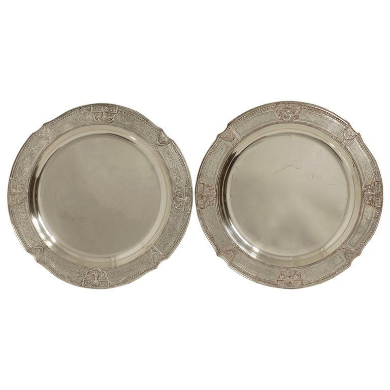 Pair of Round Silver Plate Trays E G Webster New York For Sale
