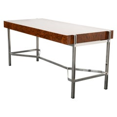 Milo Baughman Style Burl Elm and Chrome Steel Desk for Pace Collection, 1970s