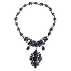 Victorian English Bib Necklace Garnets with Pearl Accents, circa 1870