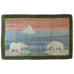 Large Grenfell Polar Bear Hooked Rug Grenfell Mission, Early 20th Century
