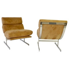 Pair of Kipp Stewart Stainless Steel Frame Lounge Chairs for Directional