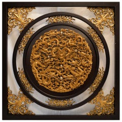 Chinese Hand Carved Gilt Dragon Wall Plaque