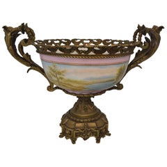 Large Hand Painted Porcelain French Style Centerpiece with Bronze
