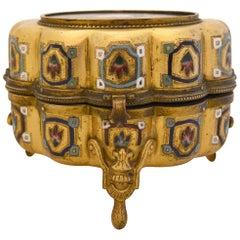 Italian Antique Pietra Dura Inlaid Gilt Bronze Box with Enameling