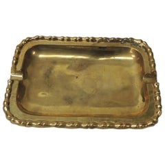 """Vintage Brass Ashtray with """"Pinch"""" Details All Around"""